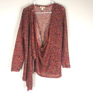 One world cheetah print drape cardigan sweater